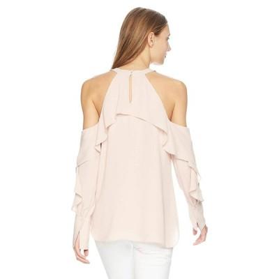 BCBGMAXAZRIA Women's Caspar Cold-Shoulder Top, Dusty Pink, M