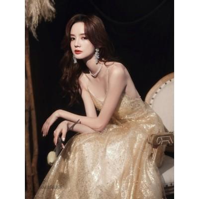 パーティードレス ワンピース ウェディングドレス 結婚式 成人式 パーティー ホルターネック 挙式 演奏会 セクシーVネック 花嫁ロングドレスお呼ばれ