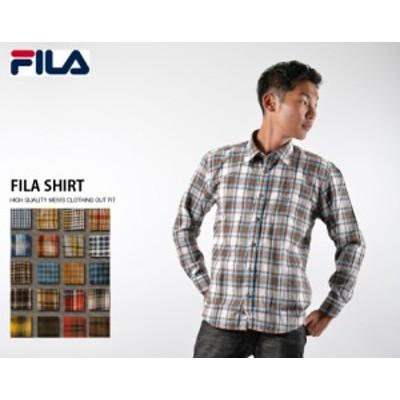 FILA フィラ メンズ シャツ ボタンダウンシャツ 長袖シャツ ドレスシャツ チェック柄 ブランド 定番 ゆったりめ アパレル outfit