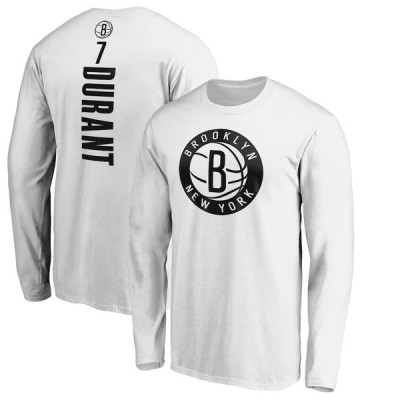 メンズ Kevin Durant Brooklyn Nets Fanatics Branded Playmaker Name & Number Long Sleeve T-Shirt Tシャツ 長袖 ロンT White
