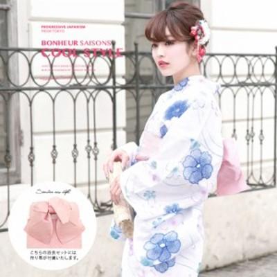 浴衣セット レディース レトロ 作り帯 浴衣セット 大人 3点セット 白系 ホワイト 青 ピンク 椿 桜 綿 ラメ 女性 ボヌールセゾン