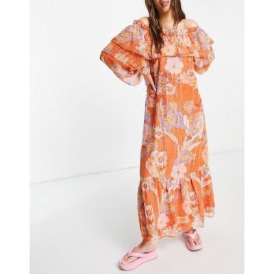 エイソス ミディドレス レディース ASOS DESIGN off shoulder maxi dress with pephem in 70s bold floral print エイソス ASOS