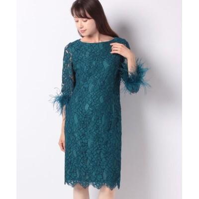 La Festa chic/ラフェスタシック ラッセルレース 袖付ドレス ブルー 13