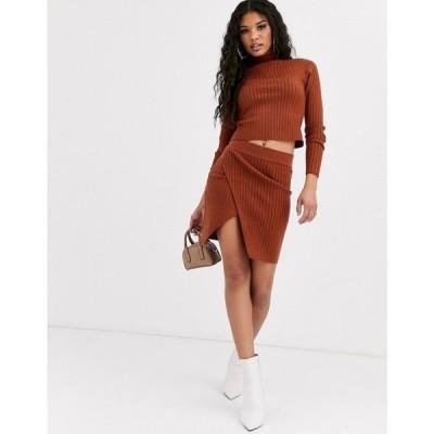 エイソス ASOS DESIGN レディース ミニスカート ラップスカート スカート co-ord rib mini skirt with wrap detail ブラウン