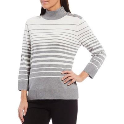 インベストメンツ レディース ニット&セーター アウター Mock Neck 3/4 Sleeve Button Neck Stripe Top Heather Stripe