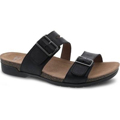 ダンスコ Dansko レディース サンダル・ミュール シューズ・靴 Rosie Banded Leather Buckle Detail Slides Black Waxy Burnished