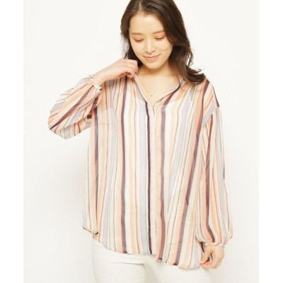 smart pink/スマート ピンク 【手洗い可】ストライプバンドカラー比翼シャツ オレンジ(367) 40(M/ミセス)