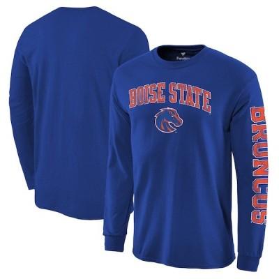 カレッジ Tシャツ NCAA ボイシ州立大学 ブロンコス ディストレス アーチ ロゴ ロングスリーブ ロイヤル