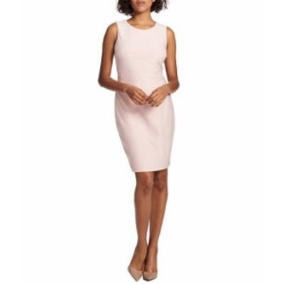 トミー ヒルフィガー レディース ワンピース トップス Solid Criss Cross Sleeveless Knit Sheath Dress Seashell