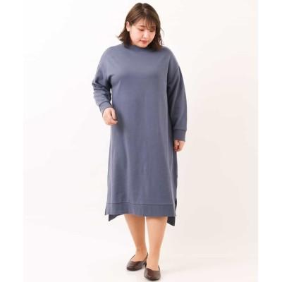 (eur3/エウルキューブ)【大きいサイズ/洗える】裏毛ワンピース/レディース ブルー
