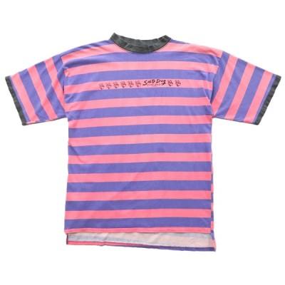 古着 オールド ボーダーTシャツ モックネック サイズ表記:--