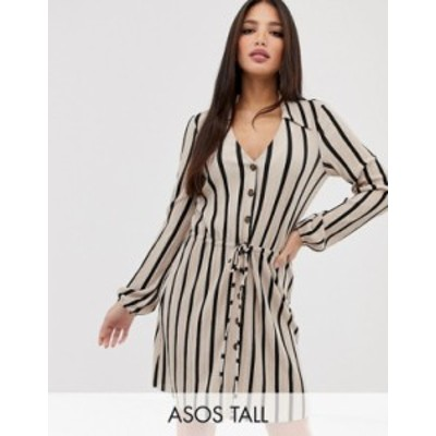 エイソス レディース ワンピース トップス ASOS DESIGN Tall mini textured shirt dress in stripe Stripe