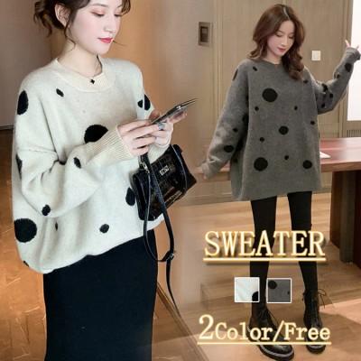 2019秋冬の新型韓国版の丸首カバー頭波点のセーターの女性はゆったりとしたニットの大人っぽい雰囲気の上着を着ています。