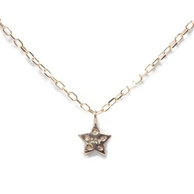 リエ Lier K10ピンクゴールド 星モチーフネックレス ダイヤモンド0.02ct dpn-50-f05