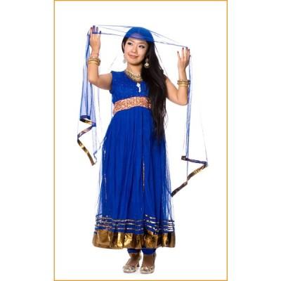 送料無料 ドレス インド パンジャビドレス パンジャービードレス パンジャビ・ドレス3点セット 青