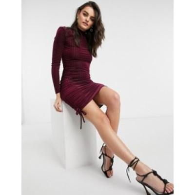 エイソス レディース ワンピース トップス ASOS DESIGN padded shoulder velvet rib strappy back mini dress in oxblood Oxblood