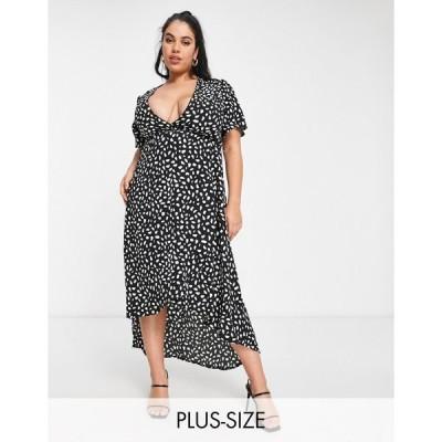 ミスガイデッド レディース ワンピース トップス Missguided Plus midi dress with high low hem in black Black