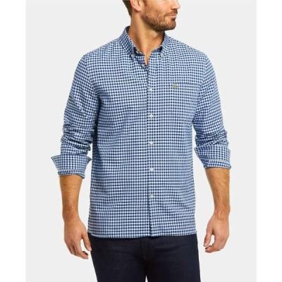 ラコステ シャツ トップス メンズ Men's Regular Fit Long Sleeve Gingham Check Oxford Shirt Ph Blu/mtn