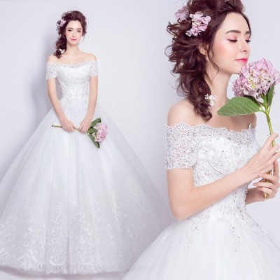 ウエディングドレス 半袖 二次会 ウェディングドレス 安い 結婚式 プリンセス エンパイア 花嫁 ドレス ロングドレス 披露宴 ブライダル wedding dress