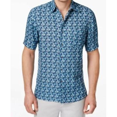 ファッション アウター Tasso Elba NEW Blue Mens Size 2XL Herringbone Button Down Silk Shirt