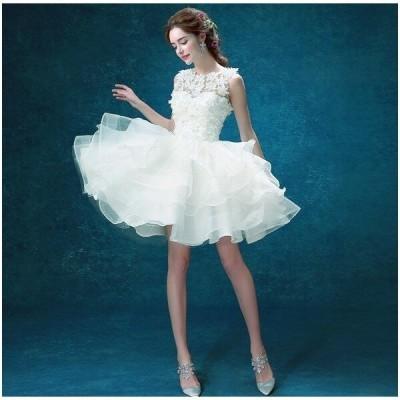/ウエディングドレス/ドレス/ミニドレス/結婚式/二次会/ファスナー/ガーデンウエディング/イベント/プリンセス/格安/ホワイト