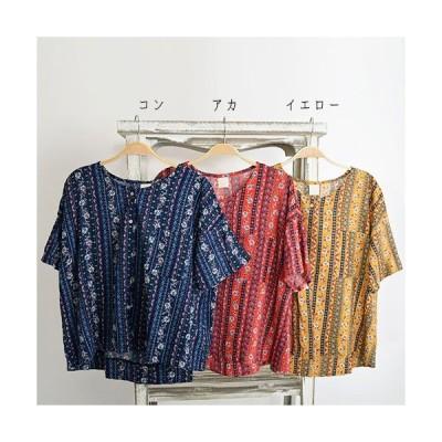 シャツ エスニック レディースフラワーラインシャツ 胸ポケット付き 半袖 5分袖 春夏コーデ フィリル