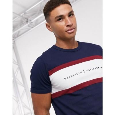 ホリスター Hollister メンズ Tシャツ トップス small scale logo blocked t-shirt in navy ネイビー