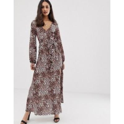 エイソス レディース ワンピース トップス ASOS DESIGN belted maxi dress with pleated skirt in leopard print Animal print