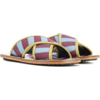マルニ Marni レディース サンダル・ミュール シューズ・靴 striped sandals Pale Blue/Wine