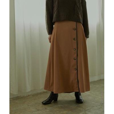 【ミエット】 フェイクスエードレザーパイピングスカート レディース ブラウン M miette