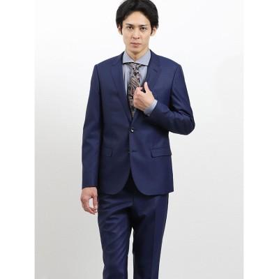 (m.f.editorial/エムエフエディトリアル)ストレッチ光沢ウール混 スリムフィット2ピーススーツ ストライプ青/メンズ ブルー