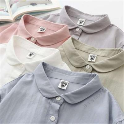 ブラウスシャツトップスレディース夏コットン無地体型カバー折襟長袖ゆったり40代白シャツおしゃれ20代30代可愛い