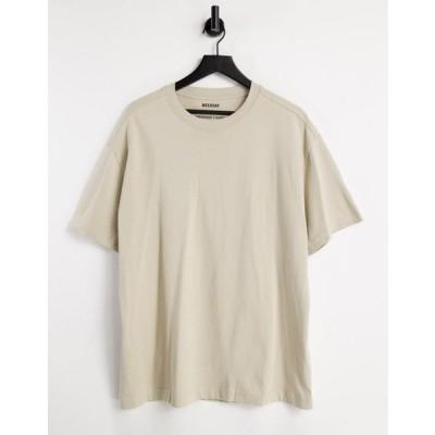 ウィークデイ 半袖Tシャツ メンズ Weekday Oversized co-ord T-Shirt in Beige エイソス ASOS ベージュ