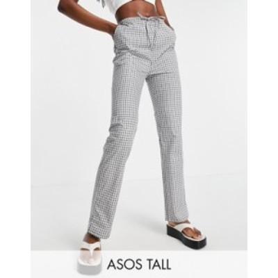 エイソス レディース カジュアルパンツ ボトムス ASOS DESIGN Tall straight leg pull on poplin pants in mono check Mono check