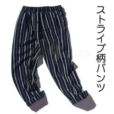 ワイドパンツ メンズ ロングパンツ ゆったり ストライプ柄 カジュアルパンツ 夏 男性 長ズボン 春秋 ストライプ柄パンツ レトロ パンツ お洒落