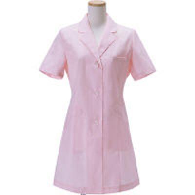 KAZENKAZEN レディス診察衣(ハーフ丈) シングル 半袖 ピンク S AKL210HS-11(受注加工品/半袖コート)(直送品)