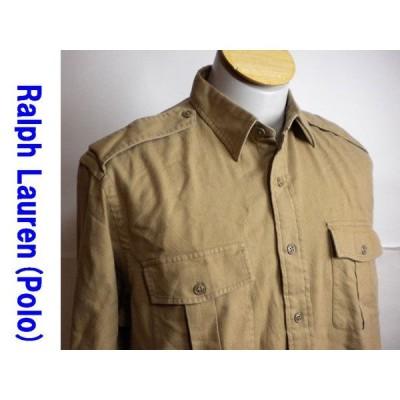 美品 ◆ラルフローレン 長袖シャツ 無地 キャメル  M ◆ b061