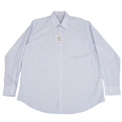 パパスPapas オルタネイトストライプコットンシャツ 白水色オレンジ52LL 【メンズ】