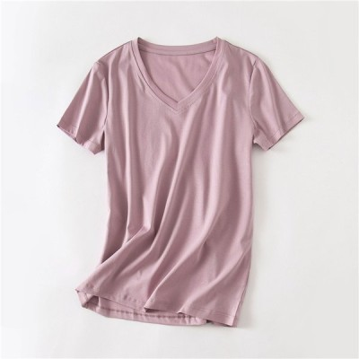 Tシャツ レディース カットソー 無地 シンプル トップス パステル Oネック Vネック  夏服 柔らかい 柔らか ストレッチ性  半袖Tシャツ 8