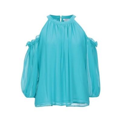 I BLUES ブラウス  レディースファッション  トップス  シャツ、ブラウス  長袖 ターコイズブルー