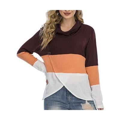 レディース 長袖セーター カラーブロック ゆったりニット プルオーバー トップス US サイズ: Medium カラー: ブラウン並行輸入品 送料無料