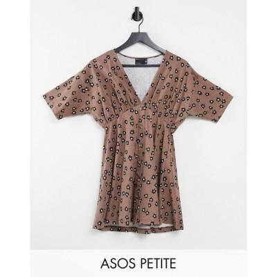 エイソス ミディドレス レディース ASOS DESIGN Petite tea dress with horn buttons in taupe base floral エイソス ASOS