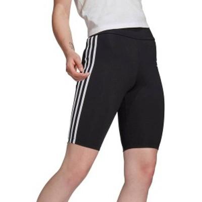 アディダス レディース ハーフパンツ・ショーツ ボトムス adidas Originals Women's 3-Stripes High Waist Bike Short Black/White