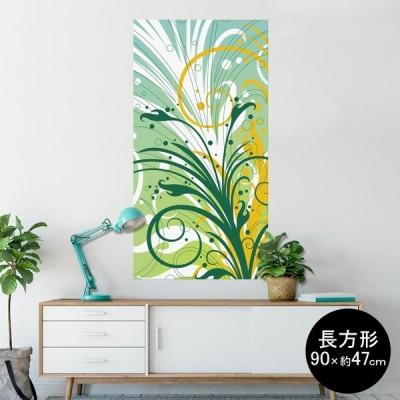 ポスター ウォールステッカー 長方形 シール式 90×47cm Lsize 壁 おしゃれ 剥がせる wall sticker poster 植物 水色 イエロー 黄色 007791