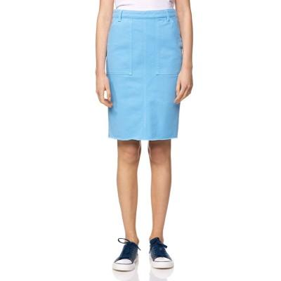 【ベネトン(ユナイテッド カラーズ オブ ベネトン)】 バックポケット刺繍ミディカットオフタイトスカート レディース ライト ブルー 44 (国内XL相当) BENETTON (UNITED COLORS OF BENETTON)