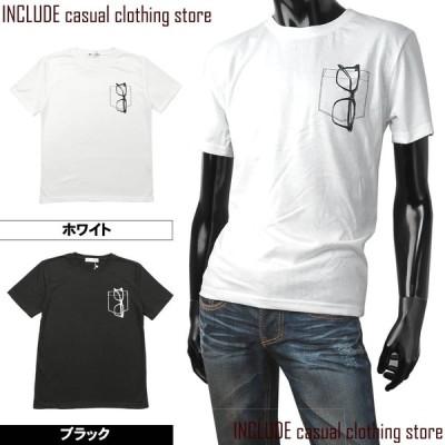 送料無料 半袖Tシャツ クルーネック Tシャツ サングラス ポケット プリント ストリート カレッジ
