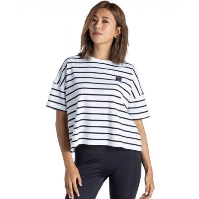 tシャツ Tシャツ SUNSHINE DAY/ロキシー Tシャツ 半袖 ボーダー ドロップショルダー