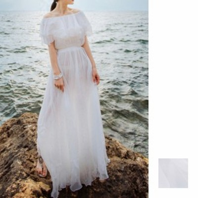 リゾートワンピース ワンピース リゾート 韓国 ファッション  春 夏 新作 カジュアル naloB858  マキシワンピース オフショルダー シアー