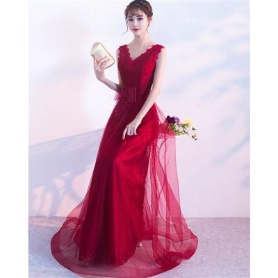 ロングドレス パーティードレス カラードレス 二次会 結婚式 ワンピース ドレス フォーマルドレス フォーマル お呼ばれ 大きいサイズ 大人 上品[レッド ]