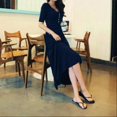 レディース ワンピース ラウンドネック フィッシュテールスカート 長袖 半袖 マキシ丈 ロング丈 黒 紺 大きいサイズ 送料無料